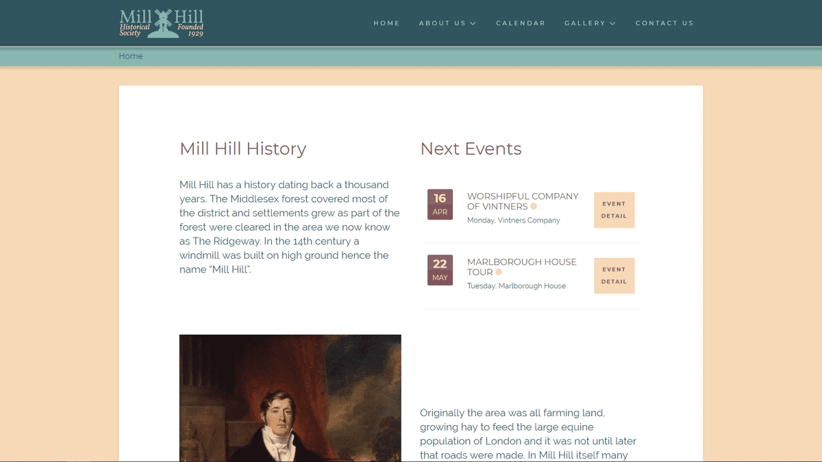 Mill Hill Historical Society website