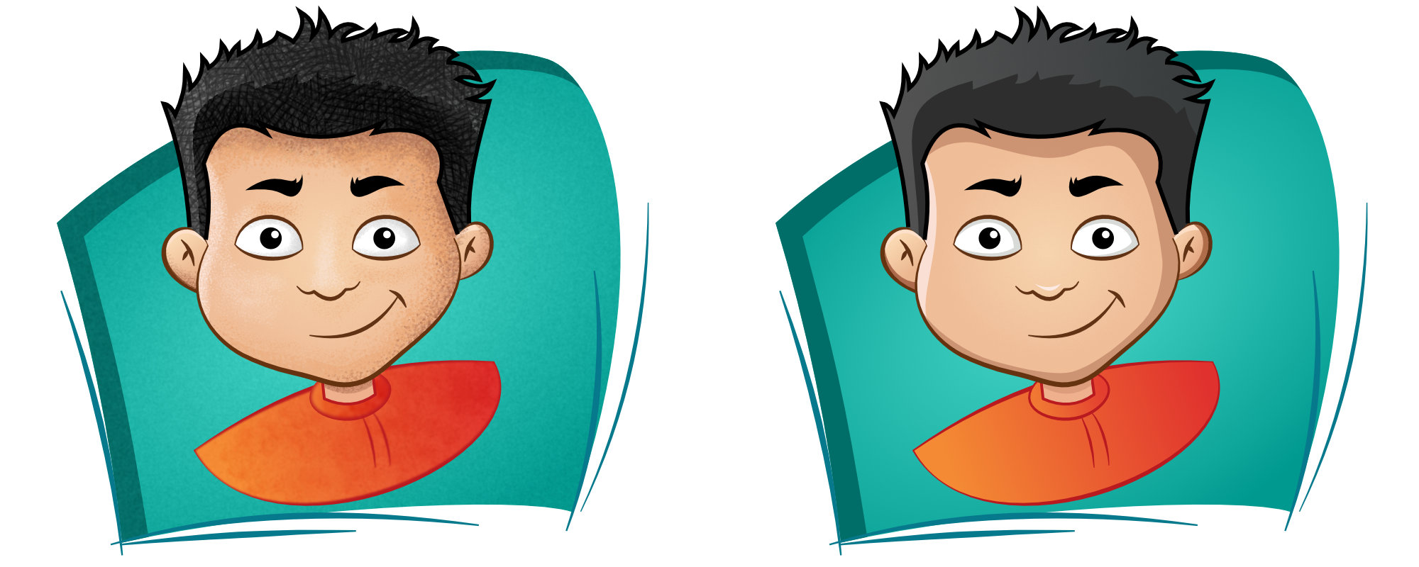 Vector Cartoon: with bitmap texture left, pure vector right.